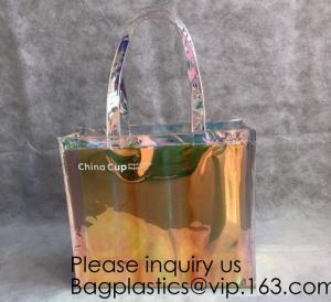 Cheap HOLOGRAPHIC NEON TOTE PVC BAG,VINYL SHOPPING SHOPPER,TOILETRY BIKINI SWIMWEAR BEACHWEAR WOMAN BAG for sale