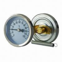 Cheap Dial pipe bimetal thermometer with spring for sale