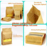 Cheap stand up pouch biodegradable zipper bag kraft paper bag, Resealable Snack Stand up Zipper kraft paper Pouch Aluminum for sale