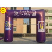Cheap Event Nylon Fabric Custom Purple Inflatable Race Arch With Banners 13ft - 50ft Wide for sale
