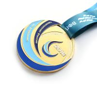 Cheap Zinc Alloy Gold Finishing Metal Award Medals For Football / Soccer Games for sale