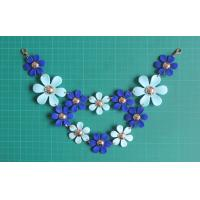 Cheap Flower ABS material handmade necklace with gold lobster clips , Dark blue and light blue for sale
