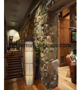 China Black Color Bamboo Floor Light , Indoor Decorative Lights D29.5*H105cm Size on sale