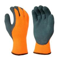 Cheap L6002 10G Hi-Viz Orange Brushed Terry Loops Acrylic Liner, with Blue Sandy Latex Palm & Thumb Coating for sale