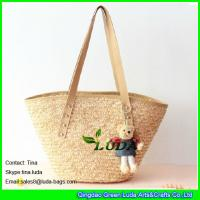 Cheap long handles straw beach bag natural wheat straw bags wholesale for sale