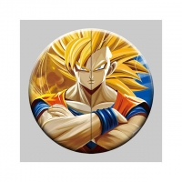 Cheap Round 5x5cm 3D Flip Lenticular Anime Pins With Goku for sale