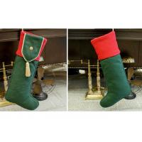 Cheap Plain Style Personalized Fashion Gifts Polyester Patchwork Christmas Stocking wholesale