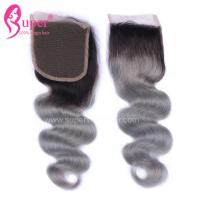 Cheap 4*4 Free Part Virgin Hair Closures Steam Processed Double Drawn Dark Ombre Color for sale
