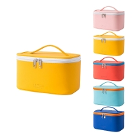 China Yellow Zippered Double Sided Cosmetic Bag With Handles Brush Holder on sale