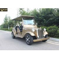 Cheap 4 Seater Battery Powered Classic Car Golf Carts Champagne Color , 80-100 Km Driving Mileage for sale