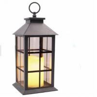 Cheap Windproof Metal Black Wedding Lantern / Memory Lantern/ Wedding Centerpiece Decorative Lantern With Led Pillar Candle for sale