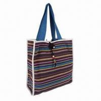 Cheap Multi-colored Striped Cotton Beach Bag with Bead Tassel for sale