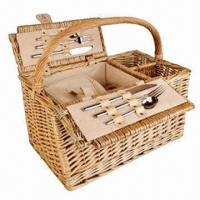 China Antique picnic basket, wash lidded for 2 person, eco-friendly, various sizes/colors are available on sale