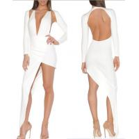 Cheap Sexy White Backless Bandage Dress Long Sleeve Club Europen Style for sale