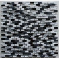 Cheap Recycled Black And White Glass Floor Mosaic Tile For Bathroom Remodeling for sale