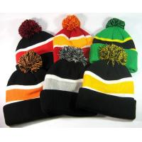 Cheap Fox Fur Women Knit Pom Pom Beanie Keep Warm Embroidered 3D Logo Available for sale