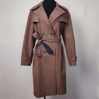 China Wind Break Ladies Fashion Wear , Double - Breasted Checked Trench Coat on sale
