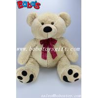 34cm~70cm China supplier of different size plush teddy bear toys with wine red ribbon