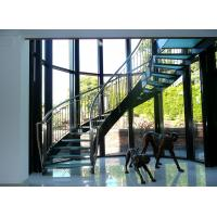 Cheap Interior glass tread curved staircase with stainless steel/ carbon steel stringer for sale
