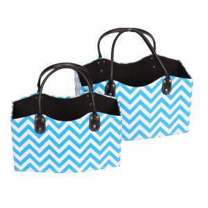 China Ocen Blue Waves Fashion PU Leather Storage Basket Personalized Colored Print Gift Baskets Empty Wholesale Desk Organizer on sale