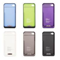 Cheap Black / White iPhone 4s Charge Case Backup Battery Pack Cover 2000mah Power Bank for sale