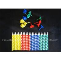 Cheap 6cm Showy Colorful Birthday Candles Yellow / Green / Blue / Red Mix 4 Colors Holders for sale