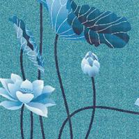 China Lotus Pattern Decorative Swimming Pool Glass Tiles  Blue Color Antibacterial on sale