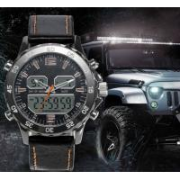 Cheap Men Casual Waterproof Leather Watches Men Wrist Luxury Quartz Dual Display Wristwatches Relogio Masculino for sale