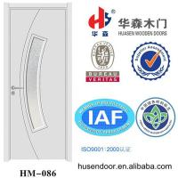 China flat pvc wood door with decorative glass on sale