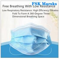 Cheap Block Coronavirus 3 Ply Disposable Face Mask Aseptic Melt Blown Cloth Blue Mask for sale