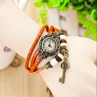Cheap Fashion Vintage Leather Band Quartz Watch with Key Pendants for Lover for sale