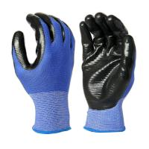 Cheap N1008 13 Gauge Blue U3 Polyester Liner, with Black Nitrile Palm Coating, Smooth Finished for sale