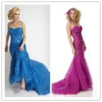 Cheap Pleated tulle mermaid formal evening dress for sale