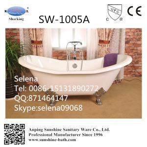 China freestanding cast iron bathtub, cast iron bateau bathtub,Dual slipper cast iron bathtub on sale