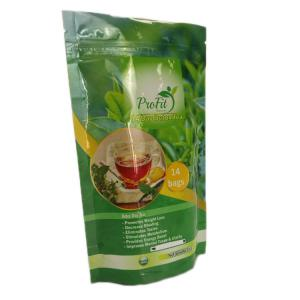 China Glossy Finish Laminated Foil Stand Up Green Tea Bags Packaging With Zip Lock on sale