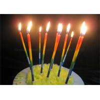 Cheap Color Gradient Long Thin Birthday Cake Candle Blue Green Yellow Red Orange Paraffin for sale