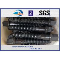 Cheap Custom Railway / Railroad Track Spikes , Threaded Screw Spike With Plain Oiled Coating for sale