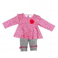 Cheap 12M 18M 24M Summer Infant Baby Clothes Girls 2 Pc Set With Flower Ribbons for sale
