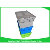 Packaging  Logistic Big Plastic Containers , Distribution Tote With Hinged Lid Rentable Moving