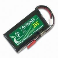 Cheap 25C LiPO Battery Pack with 7.4V Nominal Voltage and 2,600mAh Capacity, Suitable for RC Airplanes for sale