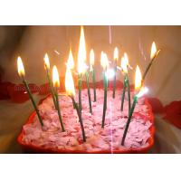 Cheap Dark Green Sparkling Birthday Cake Candles With Shimmer Sizzle , Slim 24pcs Candles for sale