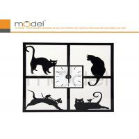 Cheap Funky Rectangular Acrylic Wall Clock Decoration With Black Cat Pattern for sale
