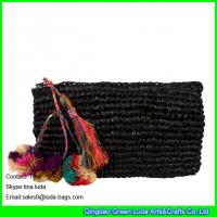 Cheap black straw handbag hand crochet raffia straw clutch bag for sale