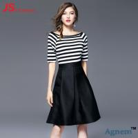 Cheap Short Sleeve Office Work Clothes Knee Length Striped Stitching Dresses Type for sale