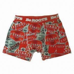 China Men's Boxer Briefs, 95%Polyester5%Elastane,Reactive Printing,Jacquard/Slive Words on Nylon Waistband on sale