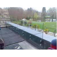 Cheap Modern Exterior Toughened Glass Balustrade Panels , Building Glass Guardrail for sale