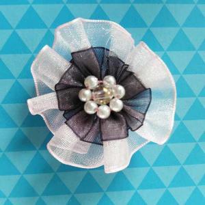 Cheap Pretty Korean Sheer Ribbon Flowers Garment Craft Handmade Flowers For Girls Dress for sale