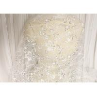 Cheap White Floral Embroidery Corded Lace Fabric With Beads And Sequins For Wedding Dress for sale
