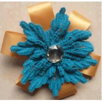 Cheap Cotton lace Artificial Flower Corsage woven for clothes , handmade woven flowers for sale