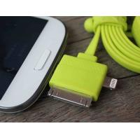 Cheap Double Ended Flat Noodle Samsung Multifunction 3 In 1 Usb Charging Cable Green for sale